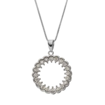 1/10 Carat T.W. Diamond Sterling Silver Circle Pendant Necklace