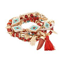 GS by gemma simone Samurai Warrior Collection Leaf, Bead, Hamsa, Tassel & Braided Multistrand Bracelet Set