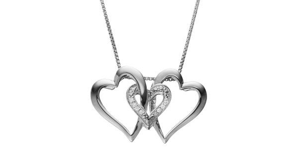 Nexus 20 Triple Bar Pendant: Diamond Accent Sterling Silver Triple Heart Pendant Necklace