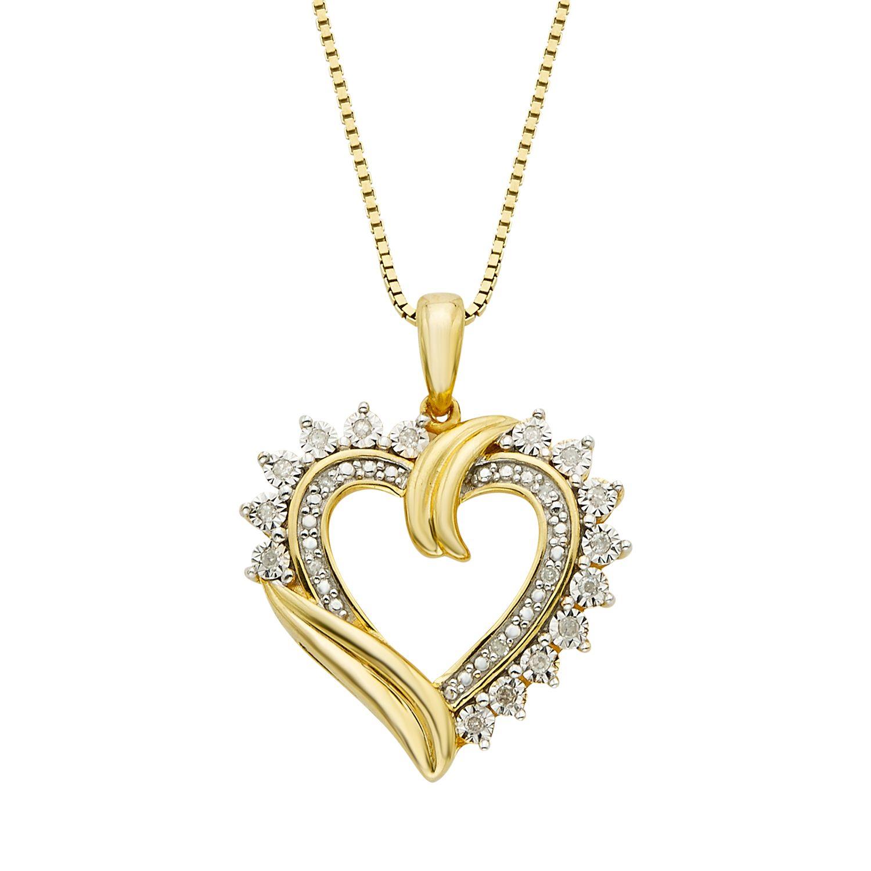 110 carat tw diamond 14k gold vermeil heart pendant necklace