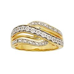 1/10 Carat T.W. Diamond 14k Gold Vermeil Wave Ring