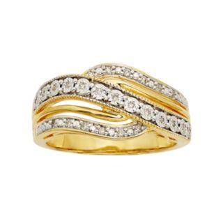 1/10 Carat T.W. Diamond 14k Gold Vermeil Wave Ring