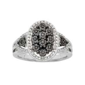 1/10 Carat T.W. Black & White Diamond Sterling Silver Oval Ring