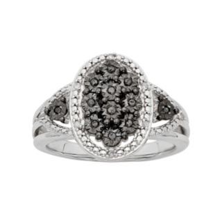 1/10 Carat T.W. Black & White Diamond Sterling Silver Oval Ring