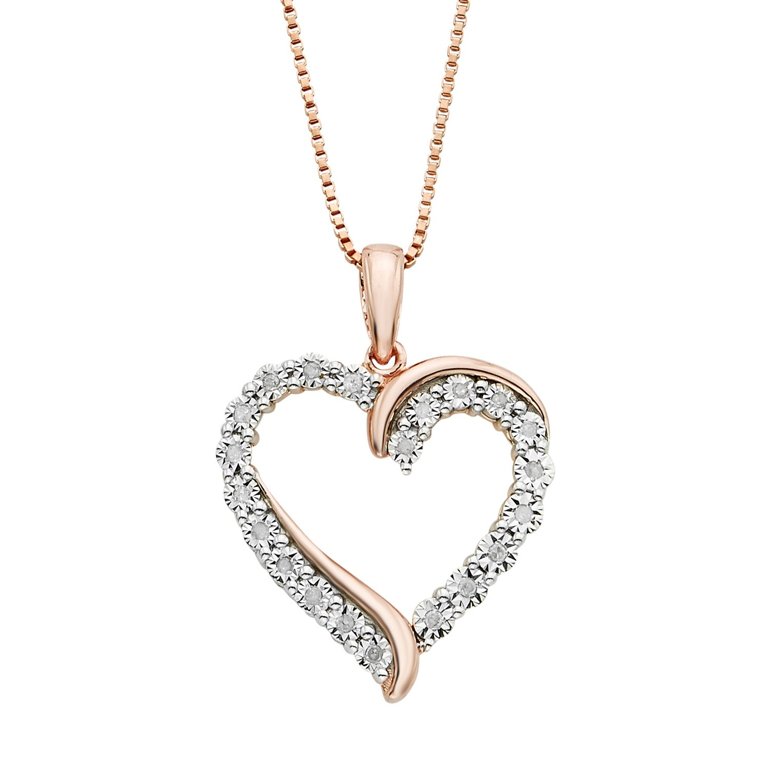 110 Carat TW Diamond 14k Rose Gold Vermeil Heart Pendant Necklace