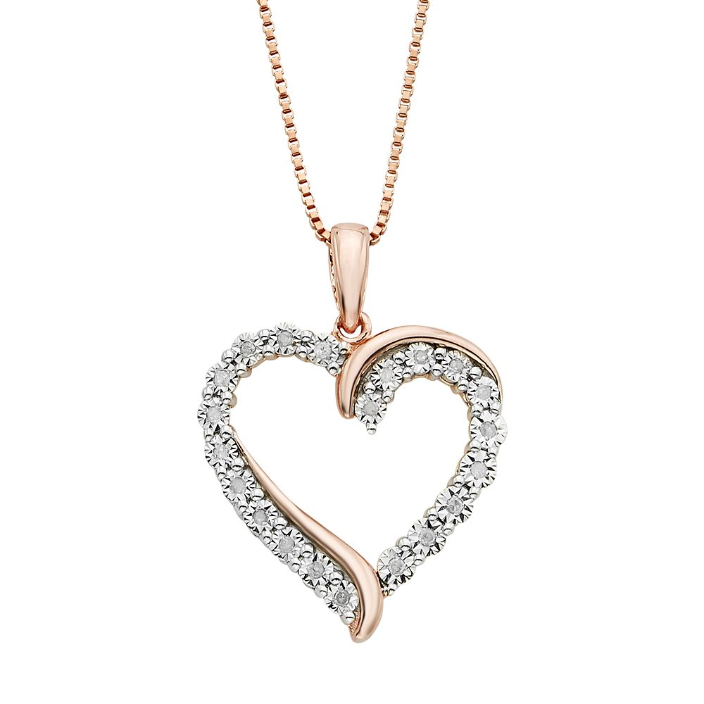 110 carat tw diamond 14k rose gold vermeil heart pendant necklace aloadofball Choice Image