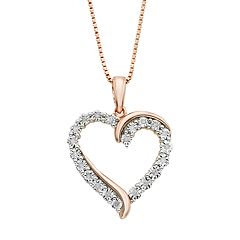 1/10 Carat T.W. Diamond 14k Rose Gold Vermeil Heart Pendant Necklace