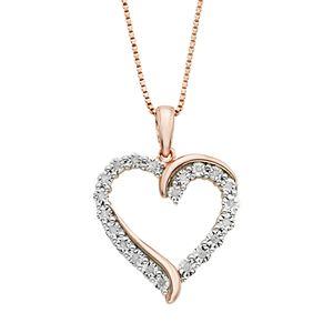 1/10 Carat T.W. Diamond 14k Rose Gold Vermeil Heart Pendant Necklace