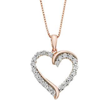 110 carat tw diamond 14k rose gold vermeil heart pendant necklace mozeypictures Gallery