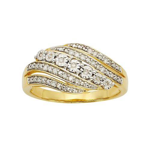 1/6 Carat T.W. 14k Gold Vermeil 5-Row Wave Ring
