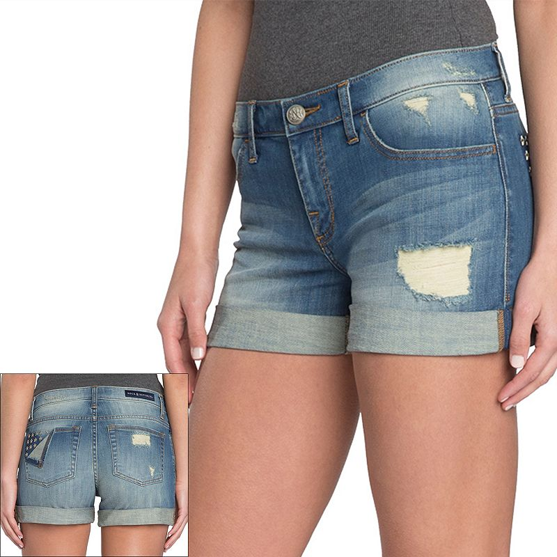 Rock & Republic Destructed Star-Stud Jean Shorts - Women's
