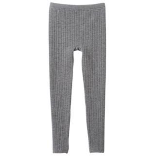 Heathered Ribbed Fleece-Lined Leggings - Girls