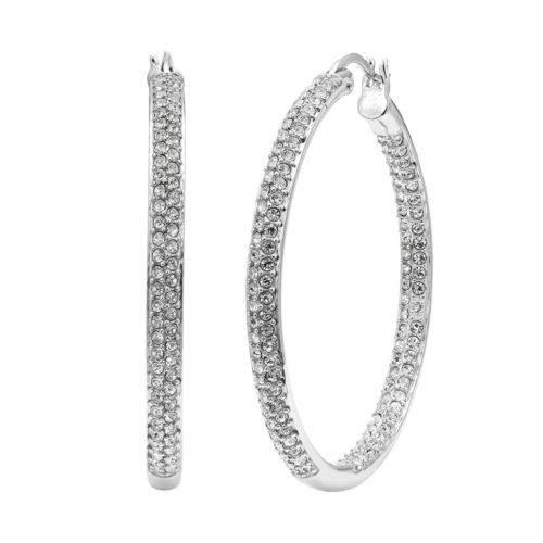 Diamond Essence Crystal & Diamond Accent Sterling Silver Inside-Out Hoop Earrings - Made with Sw...