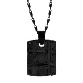 Brooklyn Exchange Black Ion-Plated Stainless Steel Textured Dog Tag Necklace - Men