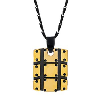 Brooklyn Exchange Stainless Steel Two Tone Textured Dog Tag Necklace - Men