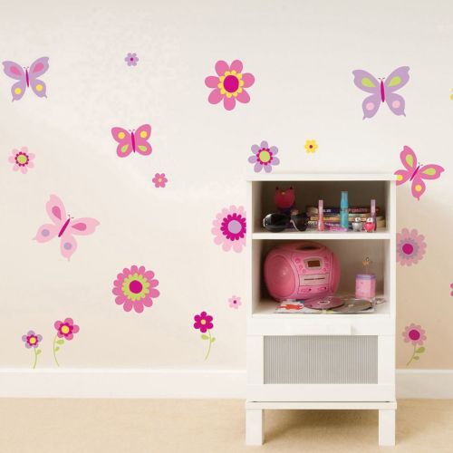 Fun4Walls Flowers and Butterflies Wall Decal Set