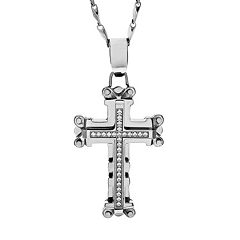 Brooklyn Exchange Cubic Zirconia Stainless Steel Cross Pendant Necklace - Men