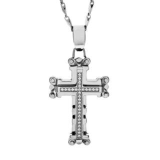 Brooklyn Exchange Cubic Zirconia Stainless Steel Cross Pendant Necklace - Men