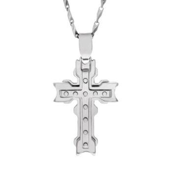 Brooklyn Exchange Stainless Steel Cross Pendant Necklace - Men