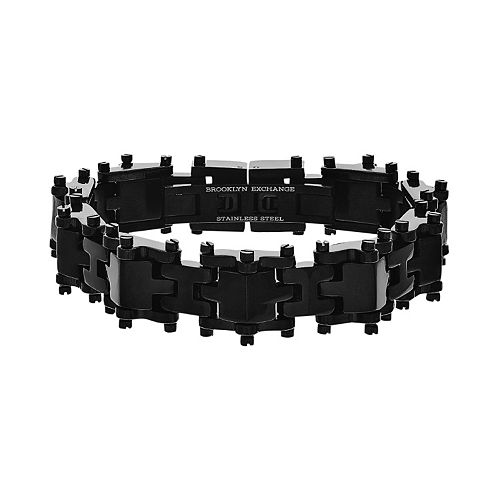 Brooklyn Exchange Black Ion-Plated Stainless Steel H-Link Bracelet - Men
