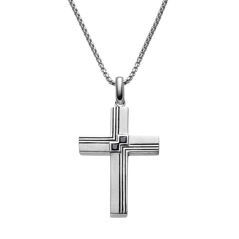 99ecf3b699b7 1 5 Carat T.W. Black Diamond Sterling Silver Textured Cross Pendant  Necklace - Men