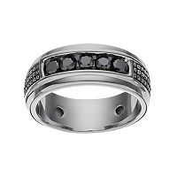 1/2 Carat T.W. Black Diamond Sterling Silver Textured Ring - Men