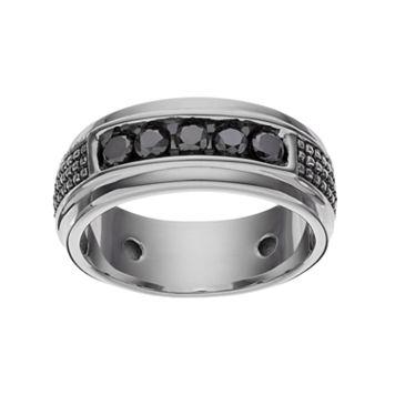 1/2 Carat T.W. Black Diamond Sterling Silver Textured Ring - Men