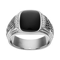 Onyx & 1/10 Carat T.W. Diamond Sterling Silver Ring - Men