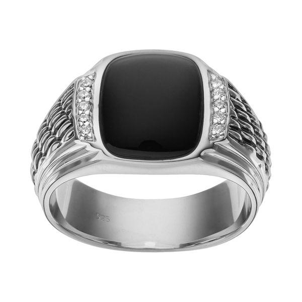 Onyx 1 10 Carat T W Diamond Sterling Silver Ring Men