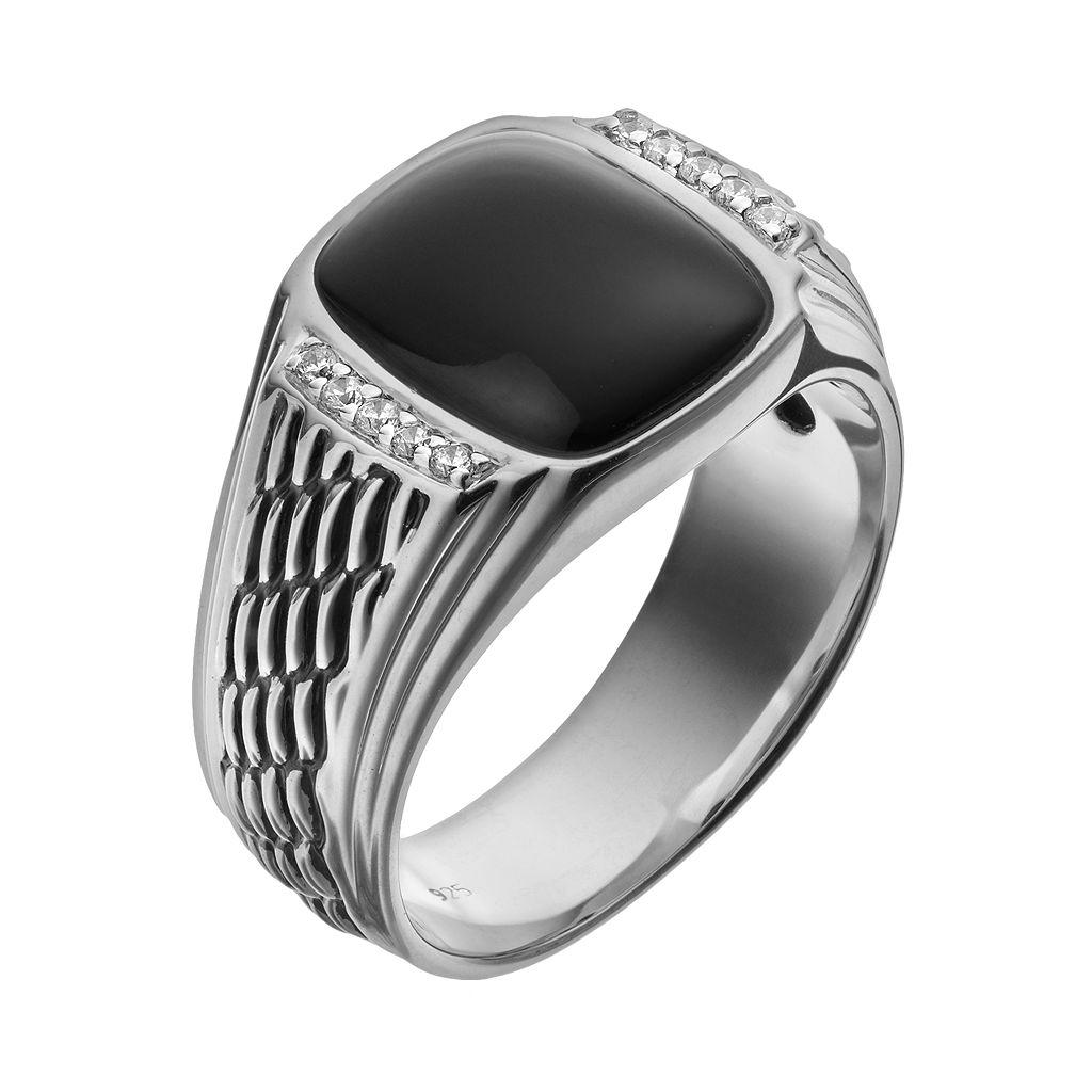 Onyx & 1/10 Carat T.W. Diamond Sterling Silver Ring - Men