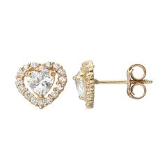 Kids' Cubic Zirconia 14k Gold Heart Halo Stud Earrings