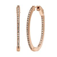 Diamond Essence Cubic Zirconia & Diamond Accent 14k Rose Gold Vermeil Inside-Out Hoop Earrings - Made with Swarovski Zirconia