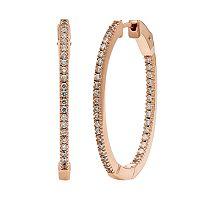 Diamond Essence Cubic Zirconia & Diamond Accent 14k Rose Gold Vermeil Inside-Out Hoop Earrings - Made with Swarovski Zirconia