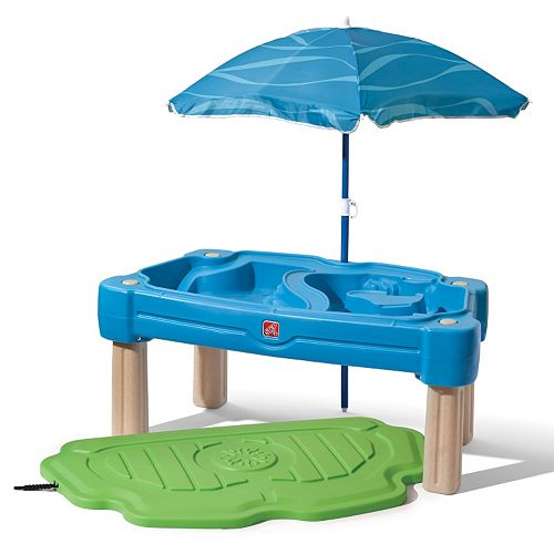 step2 cascading cove sand water table with umbrella. Black Bedroom Furniture Sets. Home Design Ideas