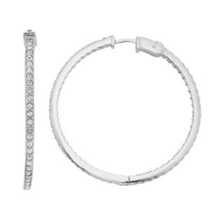 Diamond Splendor Crystal & Diamond Accent Sterling Silver Inside-Out Hoop Earrings