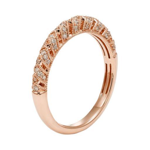 1/4 Carat T.W. IGL Certified Diamond 14k Gold Art Deco Wedding Ring