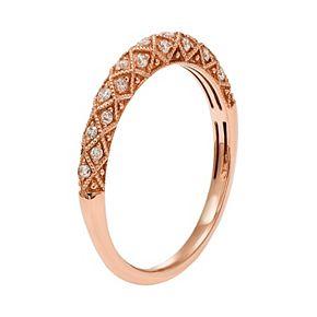 1/6 Carat T.W. IGL Certified Diamond 14k Gold Art Deco Wedding Ring