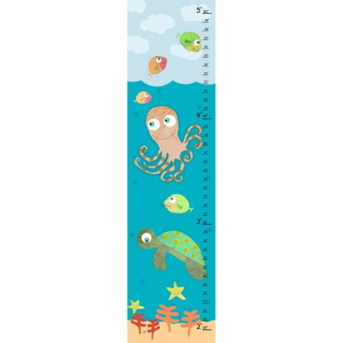 Green Leaf Art Under The Sea Growth Chart Canvas