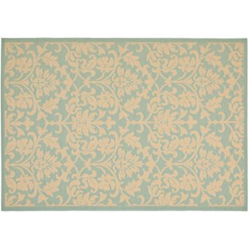 Safavieh Courtyard Floral Aqua Cream Indoor Outdoor Rug