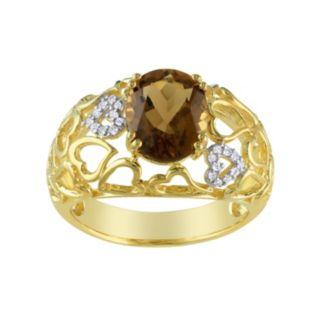 Diamond Accent & Cognac Quartz Yellow Rhodium-Plated Sterling Silver Openwork Heart Ring
