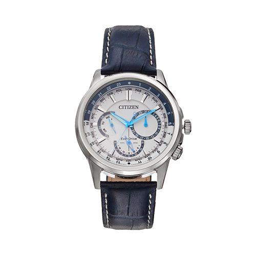 Citizen Eco-Drive Men's Calendrier Leather World Time Watch - BU2020-02A pantip