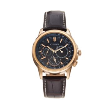 Citizen Eco-Drive Men's Calendrier Leather World Time Watch - BU2020-02A