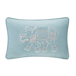 INK+IVY Zahira Elephant Embroidered Throw Pillow