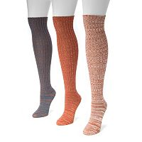 MUK LUKS 3-pk. Marled Knee-High Socks - Women