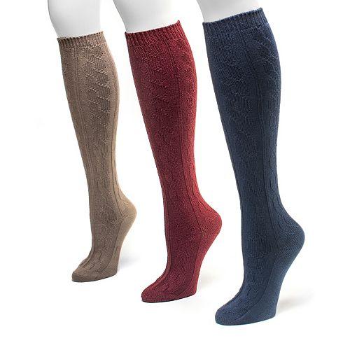 MUK LUKS 3-pk Cable-Knit Microfiber Knee-High Socks - Women