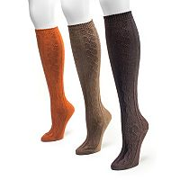MUK LUKS 3-pk Cable-Knit Microfiber Knee-High Socks - Women