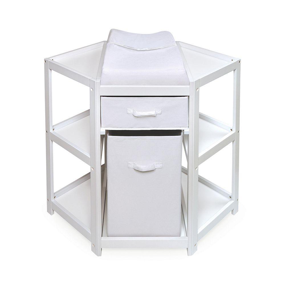 Badger Basket Corner Changing Table with Hamper & Basket
