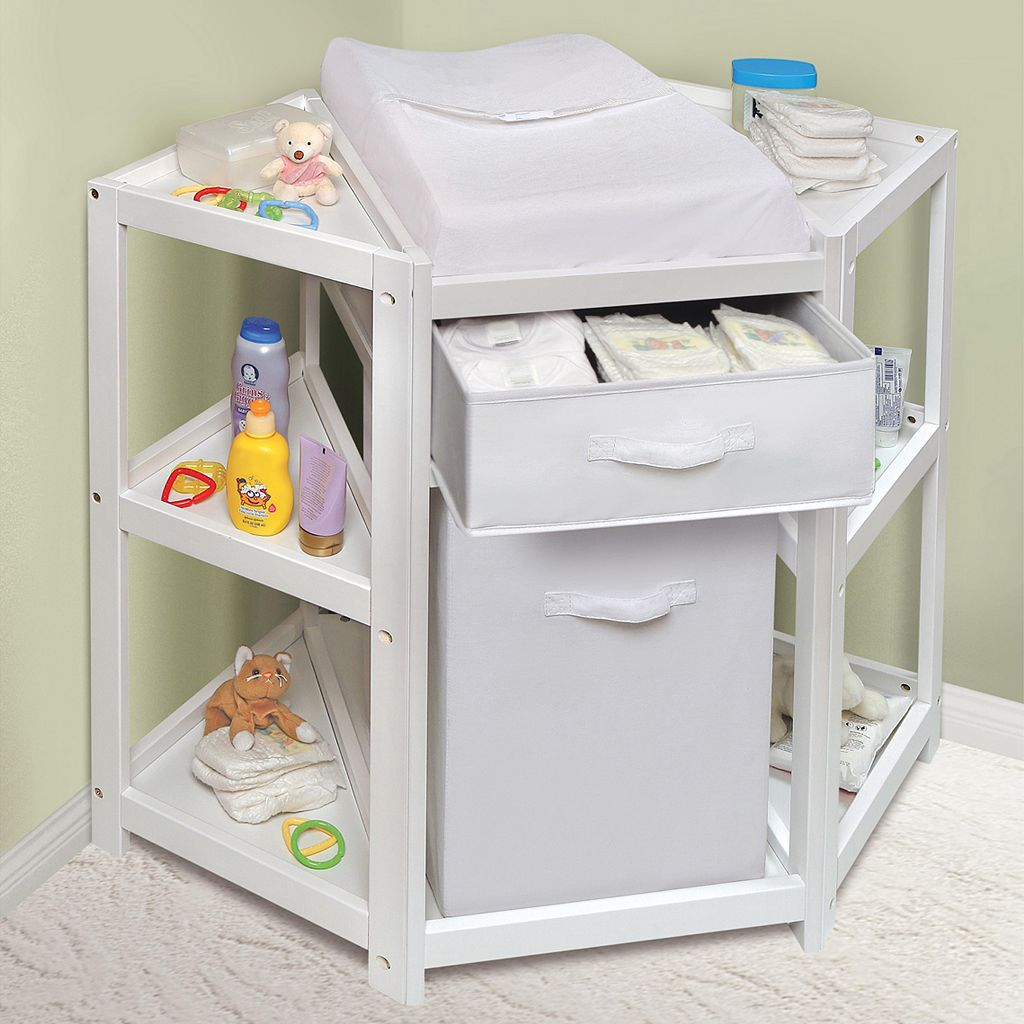 Badger Basket Corner Changing Table with Hamper & Basket