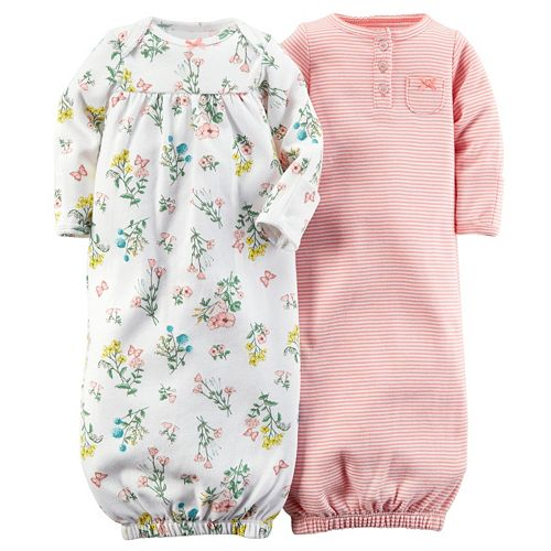 828fafd12 Baby Girl Carter's 2-pk. Floral & Striped Sleeper Gowns