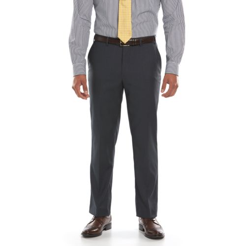 Men's Lazetti Slim-Fit Gray Flat-Front Suit Pants